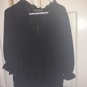 Black Silk Love Stitch Top/Size S/Excellent Cond